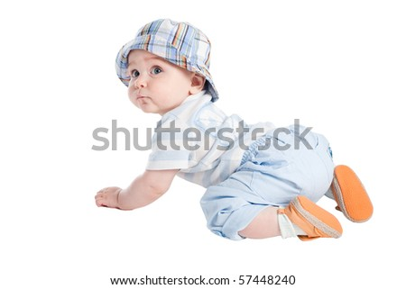 little boy isolated on white