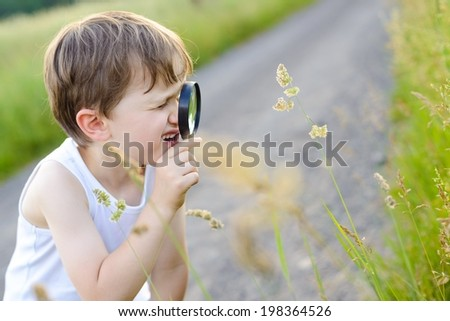 little boy looking at plant through a magnifying glass - summertime - stock photo