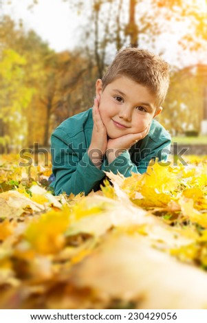Little boy lying on the yellow leaves in the autumn park - stock photo