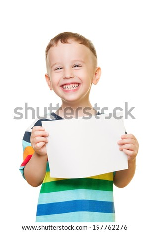 Little boy on isolated white with blank paper - stock photo
