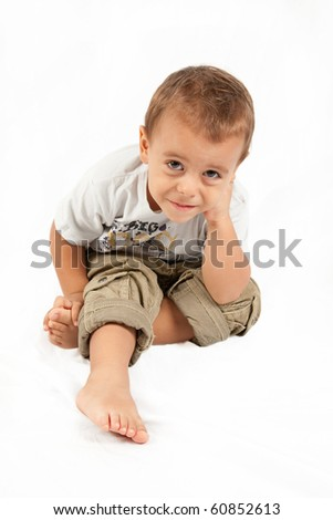 Little boy on the white background - stock photo