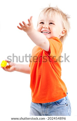 LITTLE BOY ON WHITE BACKGROUND - stock photo