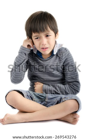 Little boy pain itchy his ear with crying isolate on white background - stock photo