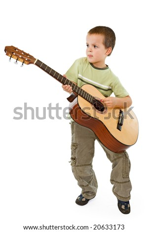 Little boy playing acoustic guitar - isolated - stock photo