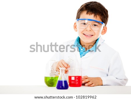 Little boy playing chemist - isolated over a white background - stock photo