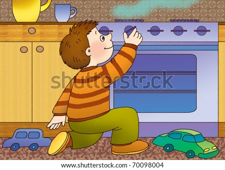 little boy playing in the kitchen with gas stove - stock photo