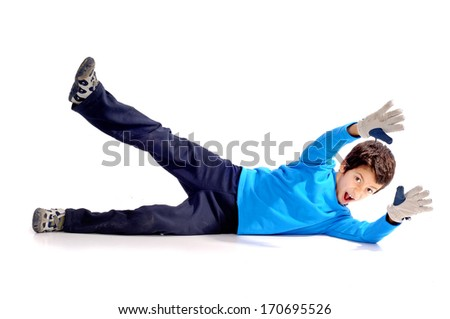 little boy playing soccer isolated in white
