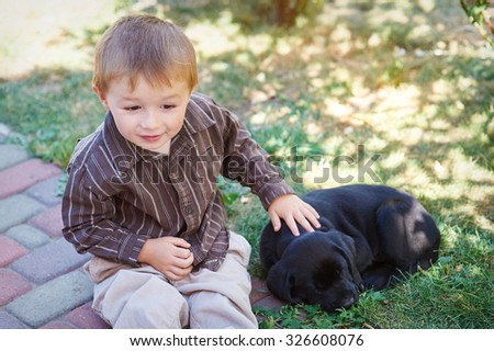 Little boy playing with a black Labrador puppy. - stock photo