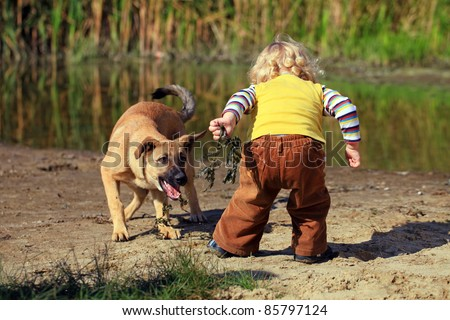 Little boy playing with his dog - stock photo
