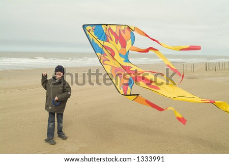 Little boy playing with his kite on the beach - stock photo