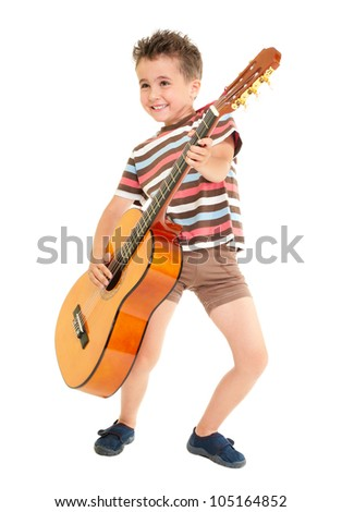 Little boy plays guitar country rock style isolated on white - stock photo