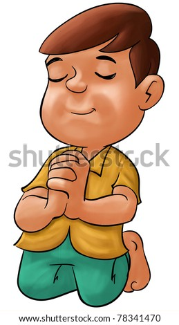 little boy praying his eyes are closed - stock photo