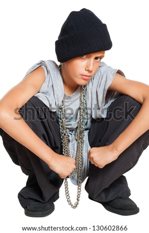 little boy rapper isolated on white background