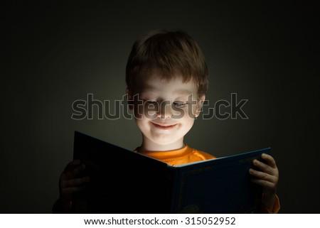 little boy read book - stock photo