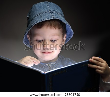 little boy read book - stock photo