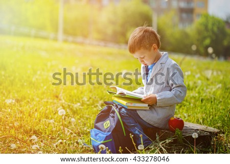 Little boy reads a book in sunny day, outdoors - stock photo
