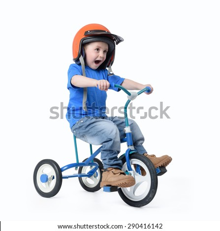Little boy riding bicycle on white background. File contains a path to isolation.  - stock photo