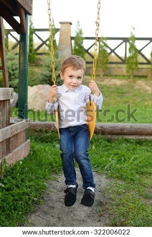 Little boy riding on a swing in the park