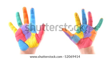 Little boy's colorful hands with all fingers up as well as a stop sign. High resolution studio image. - stock photo