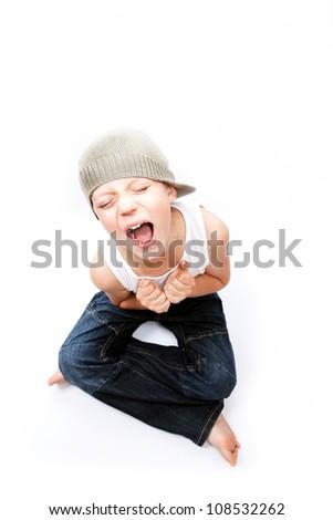 little boy scream, studio - stock photo
