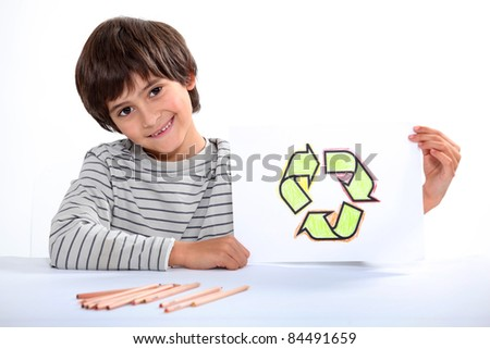 little boy showing a circle composed of arrows