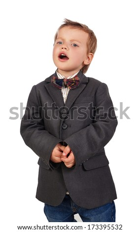 little boy singing, isolation on a white background