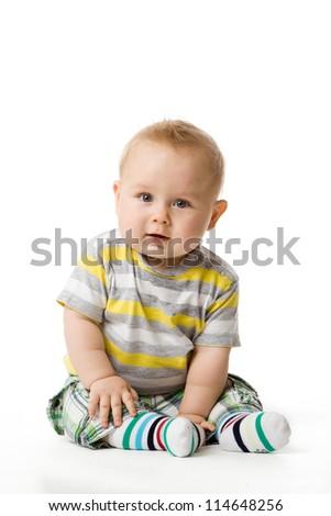 little boy sitting - stock photo