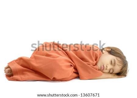 Little Boy Sleeping on white background . - stock photo