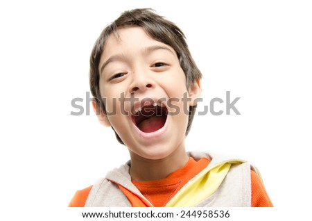 Little boy smiling open wide mouth show his toothless on white background - stock photo