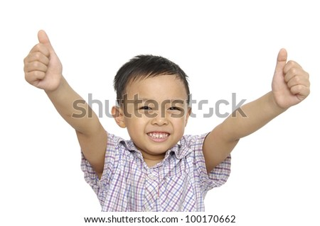 Little boy smiling saying OK. Isolated on white background