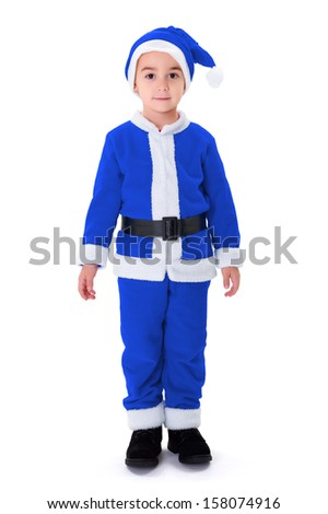 Little boy standing in blue Santa Claus costume