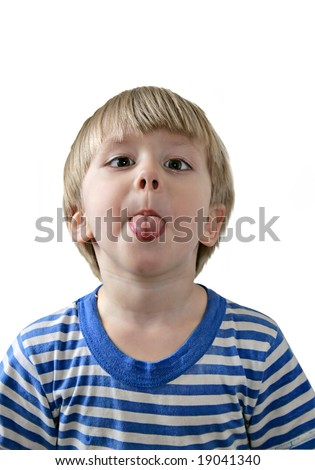 Little boy sticking out his tongue, white background - stock photo
