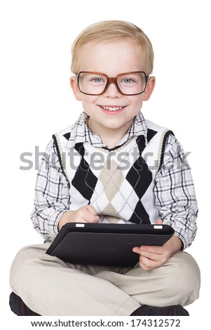 Little Boy Technology Geek. Isolated on white - stock photo