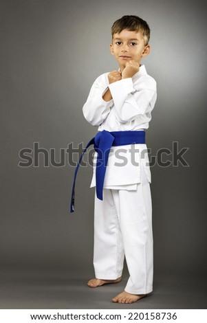 Little boy training karate isolated on gray background - stock photo