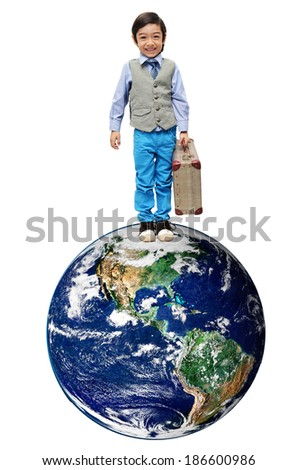 "Little boy travel around the world on white background- ""Elements of this image furnished by NASA"" - stock photo"