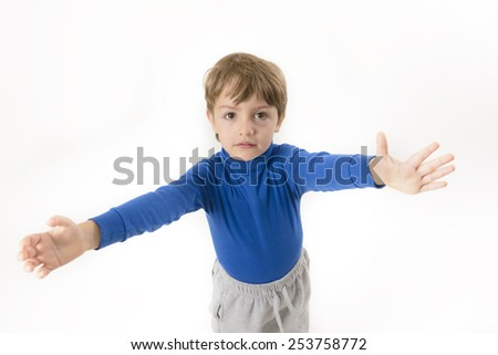 Little boy wants to be embraced isolated on white - stock photo