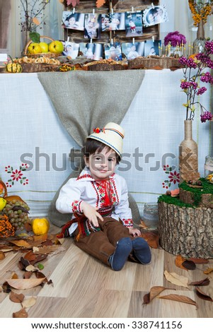 Little boy wearing Romanian traditional blouse. Romanian boy. Romanian traditional clothes.Beautiful little boy at home.