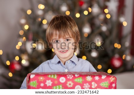 Little boy with a large Christmas gift standing in front of the decorated tree with twinkling lights holding it in his arms - stock photo