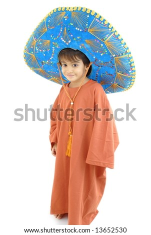 Little Boy with a Mexican Mariachi hat on white . - stock photo