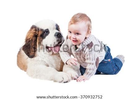 Little boy with a saint bernard puppy  - stock photo