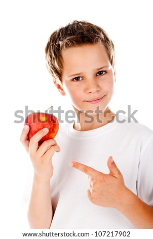 little boy with apple on a white background - stock photo