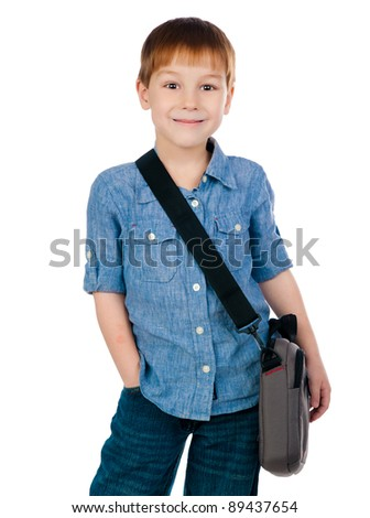 little boy with bag on white background - stock photo