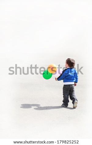Little Boy with balloons, wants to Congratulate You - stock photo