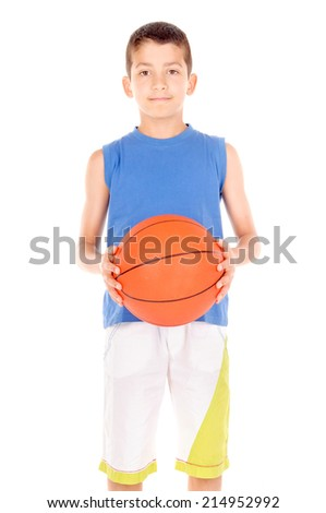 little boy with basketball isolated in white - stock photo