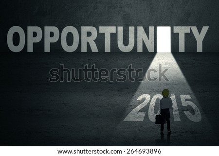 Little boy with briefcase and helmet, standing in front of an opportunity door with bright light and number 2015 - stock photo