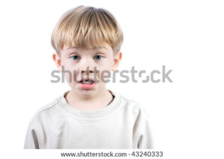 little boy with emotional face isolated on white background - stock photo