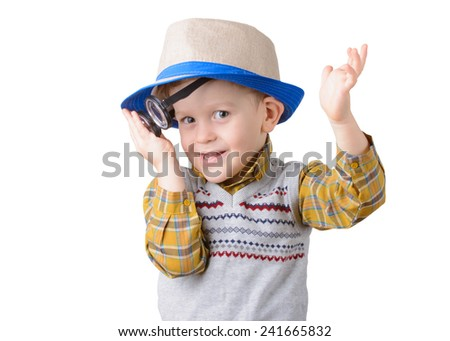 little boy with glasses and hat on white background closeup - stock photo