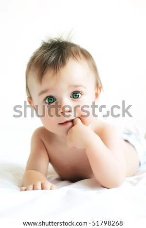 Little boy with green eyes