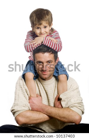 Little boy with his father on the white background