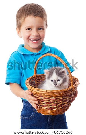 Little boy with kitty in wicker, isolated on white - stock photo